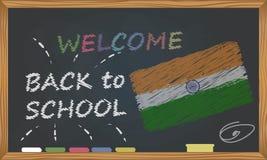 回到有学习和童年概念的学校 与题字的横幅与回到学校和印度的白垩欢迎 向量例证