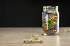 回到有橡皮筋儿的学校 免版税库存照片