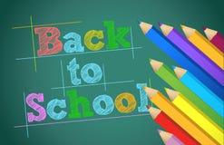 回到有颜色铅笔的学校在黑板 免版税库存照片