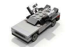 回到未来的乐高DeLorean 免版税库存照片
