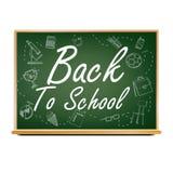 回到校旗设计传染媒介 绿色 教室黑板 销售海报 9月1日 相关的教育 可实现 皇族释放例证