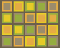 回到棕色绿色橙色减速火箭的正方形黄色 免版税库存照片