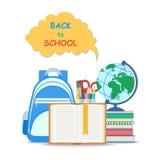 回到概念学校 与书签的开放书和学校用品例如地球,文具集合 平的教育概念 图库摄影