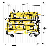 回到概念学校 校车逗人喜爱的剪影在笔记本页的 库存图片