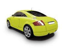 回到汽车查出的视图黄色 免版税库存图片