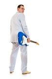 回到电吉他查找人诉讼白色 免版税库存图片