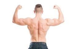 回到男性肌肉 免版税库存图片