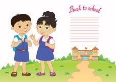 回到男生女孩学生字法商标传染媒介的横幅 免版税库存照片