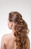 回到美丽的波浪头发的长远看法 回到视图 库存图片