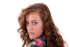 回到美丽的看起来的哀伤的妇女年轻&# 免版税库存图片