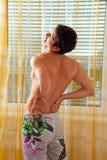 回到脊髓光盘椎间的痛苦 库存照片