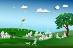 回到自然和保存环境概念,家庭爱愉快的狗并且在草甸,纸艺术设计放松 库存照片