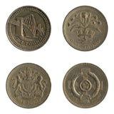 回到英国硬币设计一镑 库存照片