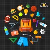 回到被设置的学校象的传染媒介 适用于横幅、打印装置和网络设计 免版税库存图片