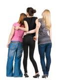 回到观点的组愉快的妇女 免版税图库摄影