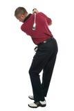 回到高尔夫球运动员红色衬衣摇摆 免版税库存照片