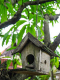 回到鸟蓝色颜色停止的房子红色美国白色庭院 免版税图库摄影