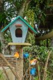 回到鸟蓝色颜色停止的房子红色美国白色庭院 图库摄影