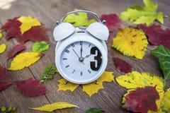 回到更改下降时间 在秋叶背景的葡萄酒时钟 库存图片
