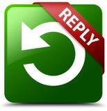 回复转动箭头象绿色正方形按钮 免版税库存图片