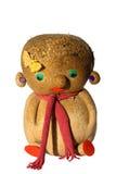 回家在白色-隔绝的做的工艺麦子玩偶 免版税图库摄影