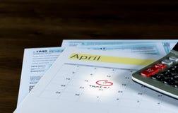 2017回归的税天是2018年4月17日 免版税库存图片