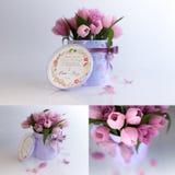 回报三桃红色郁金香组合的图片在白色背景的3D 免版税库存照片