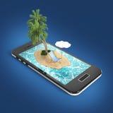 回报与蓝色海海洋水、沙子海滩和棕榈树的热带海岛度假村在智能手机屏幕旅行,旅游业假日 皇族释放例证