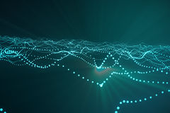回报与连接的小点和线的3d抽象多角形波浪背景 连接结构 计算机HUD 流 库存照片