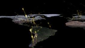 回报世界网络、互联网和全球性连接概念的摘要3D 美国航空航天局装备的这个图象的元素 库存图片