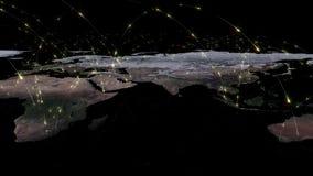 回报世界网络、互联网和全球性连接概念的摘要3D 美国航空航天局装备的这个图象的元素 库存照片