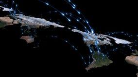 回报世界网络、互联网和全球性连接概念的摘要3D 美国航空航天局装备的这个图象的元素 图库摄影