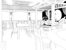 回报中国餐馆室内设计的黑白剪影 免版税图库摄影