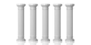 回报五根白色大理石柱子的3d 库存图片