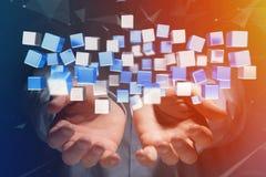 回报在一个未来派接口的3d蓝色和白色立方体 免版税库存照片
