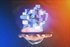 回报在一个未来派接口的3d蓝色和白色立方体 免版税库存图片