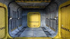 回报在太空飞船或未来派大厦的一个科幻样式走廊 向量例证
