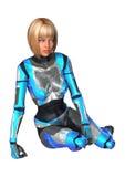 回报在白色的3D女性机器人 库存照片