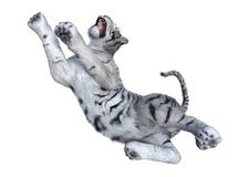 回报在白色的3D白色老虎 免版税库存照片