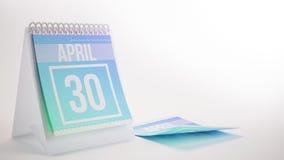 回报在白色背景- 4月的3D时髦颜色日历 免版税库存图片
