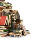 回报大堆在左边的五颜六色的书, 库存例证