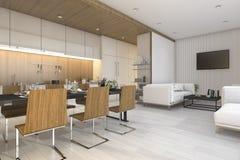 回报好的木厨房和餐厅有生存区域的3d 库存例证