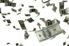 回报很多金钱的3D 100 USD钞票飞行浮游物在集中于最近一个的天空中有白色背景 图库摄影