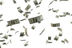 回报很多金钱的3D 100 USD钞票飞行floa 库存照片