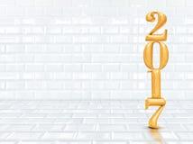 回报新年在透视白色铈的2017个3d金子颜色 免版税图库摄影