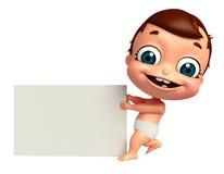 回报有白板的婴孩 库存图片