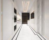 回报有豪华设计的3d白色经典厨房 库存图片