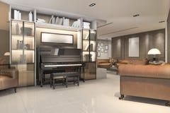 回报有钢琴和扶手椅子的3d经典温暖的客厅 库存照片