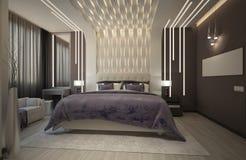 回报有紫色格子花呢披肩的卧室 免版税库存图片