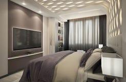 回报有紫色格子花呢披肩的卧室 免版税库存照片
